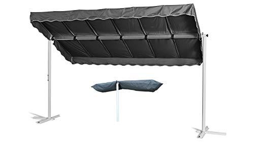 GRASEKAMP Qualität seit 1972 Standmarkise Dubai Grau 375 x 225 cm mit Schutzhülle Terrassenüberdachung Raffmarkise Mobile Markise Ziehharmonika