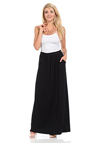 Pastel by Vivienne Women's Maxi Skirt with Elastic Waistband and Pockets Large Black
