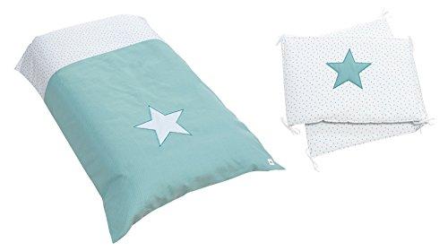 Alondra Mare 181 - Set nórdico y protector infantil con estrellas, 60 x 120 cm, color verde agua