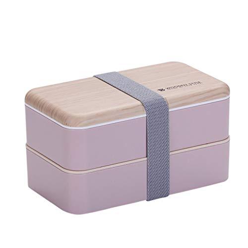 Nachhaltige Lunchbox 1L,3 in 1 Aufbewahrungsbox mit Deckel, Brotdose Vesperdose Besteck und Trennwand im Bento-Box Stil mit Zwei Fächern. Biologisch abbaubar, BPA frei, auslaufsicher (Pink)