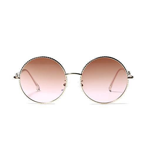 JINZUN Gafas de Sol con Lentes de Color Retro Marco Redondo Pasarela Gafas de Sol de Moda al Aire Libre Gafas Anti-Ultravioleta té en Polvo