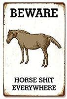 2個 どこでも馬のたわごとに注意してください!ブリキの看板金属板装飾看板家の装飾プラーク看板地下鉄金属板8x12インチ メタルプレート レトロ アメリカン ブリキ 看板