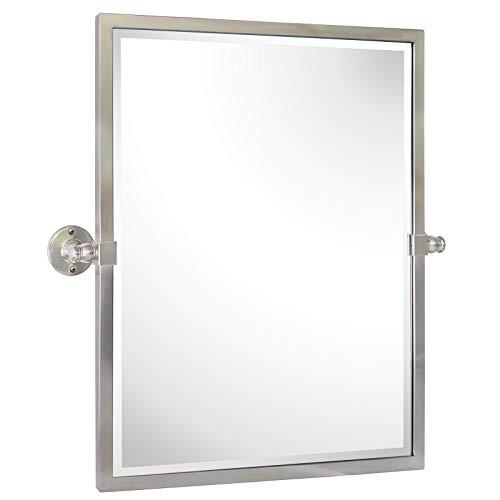 23x24'' Brushed Nickel Metal Framed Pivot Rectangle Bathroom Mirror in Stainless Steel Tilting...