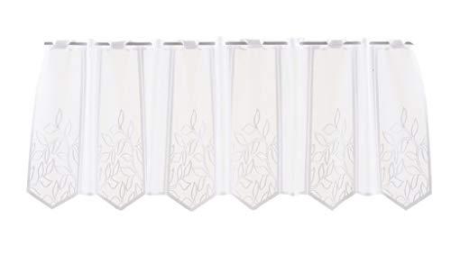 Tenda della finestra con motivo a foglie | Può scegliere la larghezza in segmenti da 28,5 cm, come vuole | Colore: Bianco