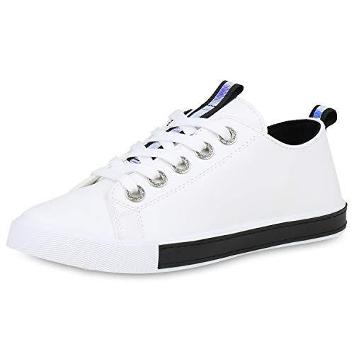 SCARPE VITA Damen Sneaker Low Metallic Freizeitschuhe Strass Turnschuhe Leder-Optik Schuhe Bequeme Holographic Schnürschuhe 191165 Weiss Schwarz 40