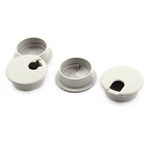 uxcell 配線孔キャップ ケーブルホールカバー プラスチック製グレー コンピューターケーブルホールカバー 35mm径4個入り