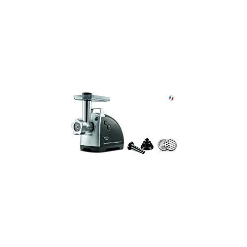 Moulinex ME686832 - Picadora eléctrica (2200 W, 2 Rejillas de trituración, Accesorios para Kebbé y Salchichas, Color Plateado