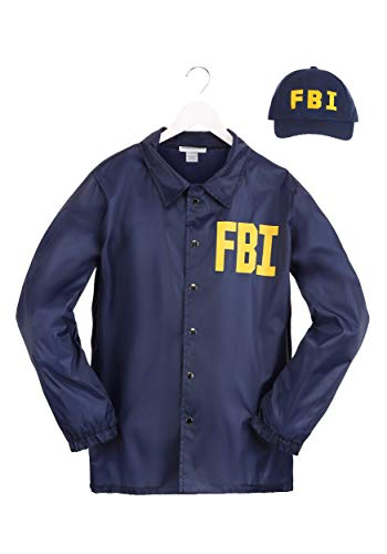 Adult FBI Costume FBI Costume Set for Men FBI Agent Jacket, Hat Halloween Costume X-Small Blue