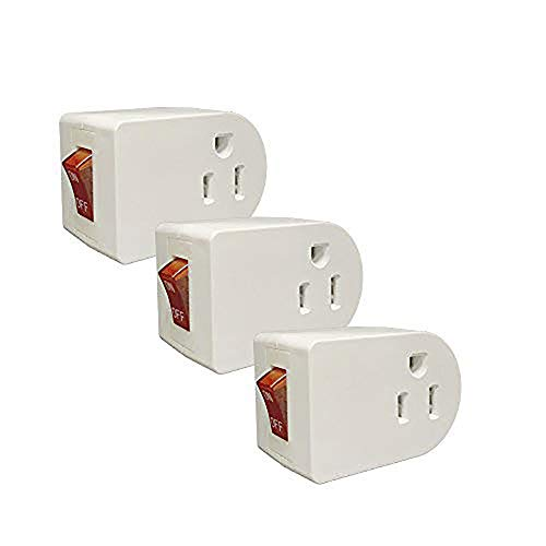 Oviitech Grounded Outlet Wall Tap Adapter with Red Indicator On/Off Power Switch (3 Pack)