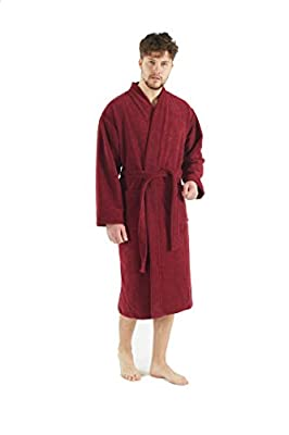Bagno Milano Men's Robe, Turkish Cotton Soft Terry Velour Fleece Elegance Spa Bathrobe, Made in Turkey