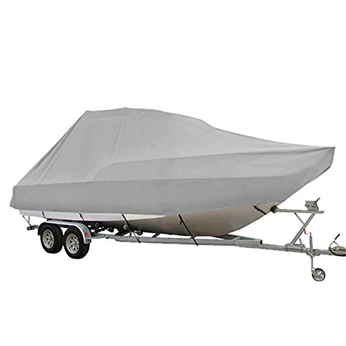 AMGJ wasserdichte Jumbo Boot Persenning 600D Oxford Gewebe mit PU-Beschichtung Premium BootsPersenning Bootsabdeckplane für Cruiser, Hard Top, T-Top, Pilot Boot,Grau,17ft to 19ft