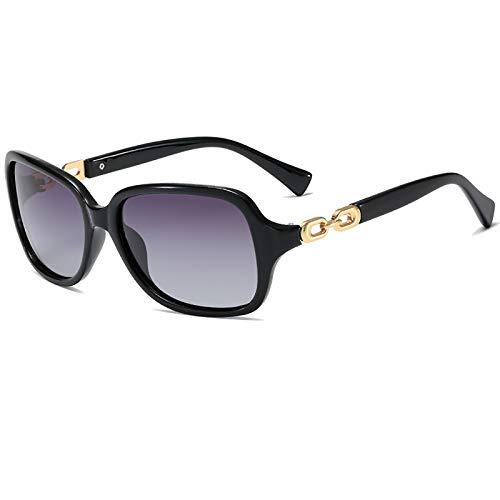ZLUCKHY Gafas De Sol Polarizadas Cuadradas Retro para Mujer Lente De Protección Gafas De Conducción Al Aire Libre UV400,Negro