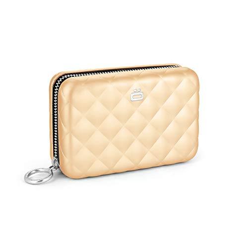 Ögon Smart Wallets - Quilted Zipper Aluminium Geldbörse RFID-Blockierung, 24 Karten, Münzen und Banknoten (Rose Gold)