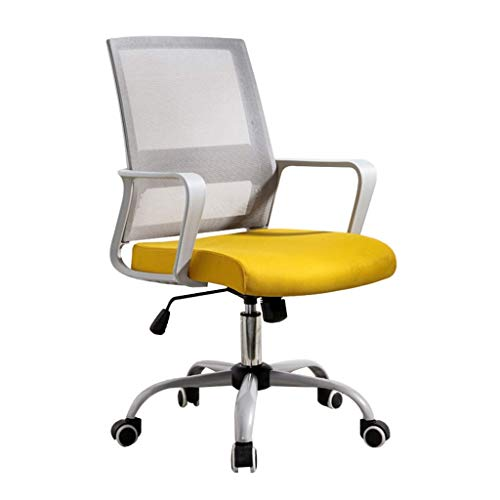 Office Chair, Heavy Duty Comfortable Medium Back Home Office Work Computer Gaming Desk Chair, Ergonomic Design, Tilt Mechanism, 360 Degree Swivel (Color : Yellow)