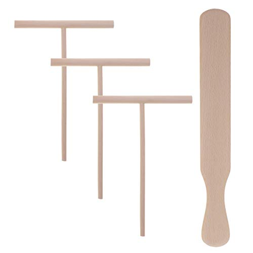 HEMOTON 3PCS Teigverteiler Holz Crepes Verteiler T Förmig und 1PC Holz Crepes Spatel Set Küchenutensilien Kochzubehör Küchenhelfer Crepes Herstellung Werkzeuge