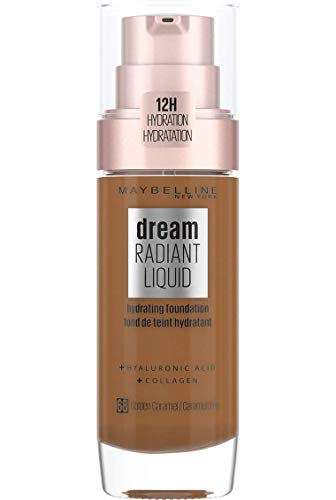Maybelline Foundation Fond de Teint Hydratant Liquide Dream Radiant avec Acide Hyaluronique et Collagène - Couverture Légère et Moyenne jusqu'à 12 Heures d'hydratation, 68 Golden Caramel