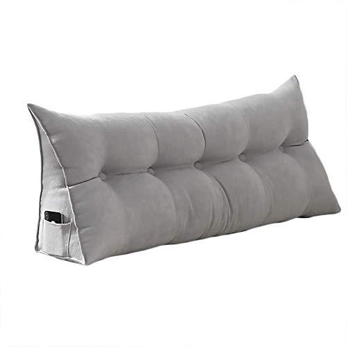 DGYAXIN Cojín de cuña triangular relleno de algodón PP-Cojín de cama Apoyo de posicionamiento tapizado Cabecero Lectura Almohada extraíble lavable funda de 39 pulgadas, gris claro, 71 pulgadas