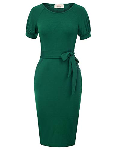 Womens Midi Length Round Neck Short Sleeve Formal Pencil Dress Size S Green