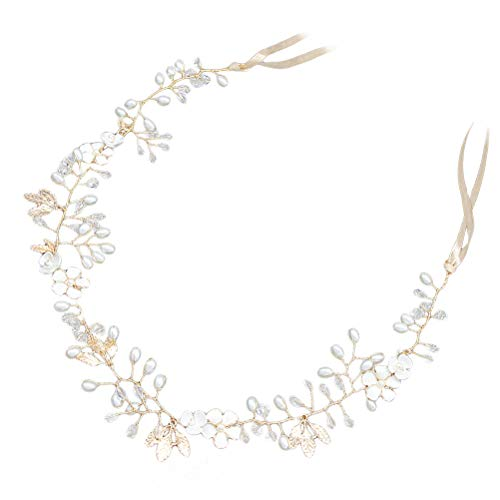 Beaupretty Simulate Alloy Leaf Rhinestone Headpiece Crystal Head Band Floral Headband Pearls Bridal Hair Accessory Performance Photography Props (Golden)