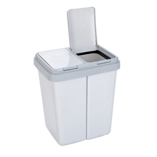 Axentia – Cubo de basura doble con 2 compartimentos, separador residuos (2 x 23 l), Plástico, Gris granito, 43 x 33 x51 cm