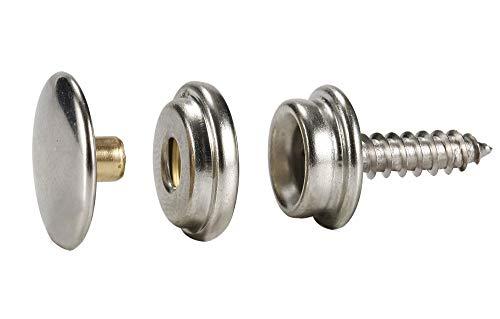 63Pcs Stainless Steel Fastener Screw Snap Kit in Storage Box, Marine Grade, 3/8' Socket #6-5/8' with 3 Pcs Setting Tool