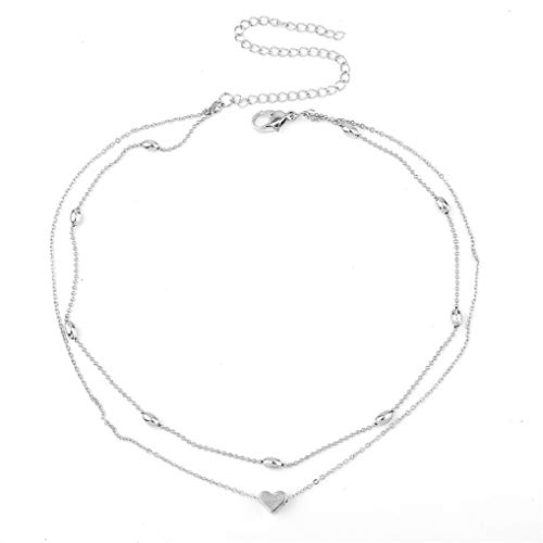 Timesuper Layered Copper Choker Necklaces Heart Pendant Necklace Ball Collar Jewelry for Women Girls,Silver