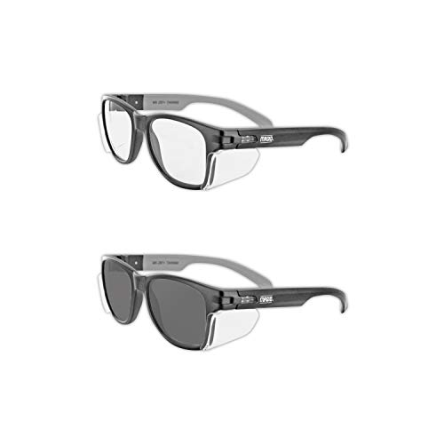 Magid Glove & Safety Iconic Y50 Design Series Safety Glasses with Side Shields DualPak, Clear & Grey Lens (2 Pair)