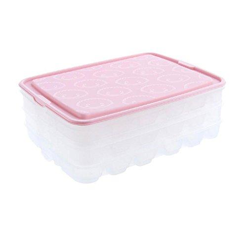 Coffrets de maquillage Boîte à boulettes Dumpling de ménage fractionné Plateau de Rangement pour Conservation de Fruits Frais Boîte de Rangement pour boîtes de classement (Couleur : Pink)