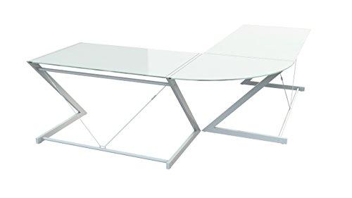 Möbel Akut Eckschreibtisch Z-Line Metall weiß mit Sicherheitsglasscheibe
