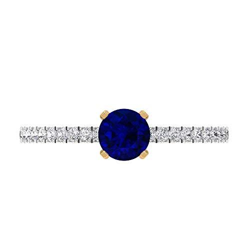 Anillo de compromiso de diamante HI-SI de 5 mm, solitario de zafiro azul, anillo de compromiso de oro para mujer, oro de 14 quilates, Metal, Diamond Blue Sapphire,