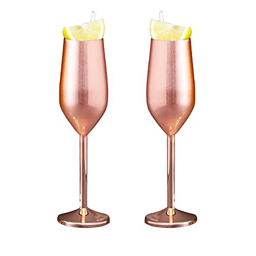 XBXD 2PCS in Acciaio Inox Champagne Calice, in Acciaio Inox Bicchieri di Vino, in Acciaio Inox Gambo Calici, infrangibile in Acciaio Inox Bicchiere di Vino, Bicchiere di Vino del Metallo Rose Gold