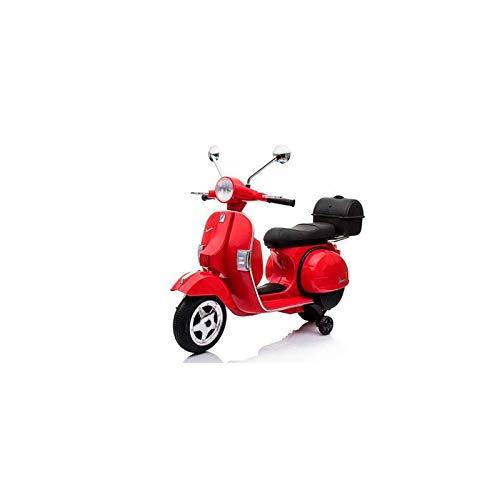 ATAA CARS Vespa clásica Oficial 12v Licencia Piaggio - Rojo - Moto eléctrica para niños hasta 7 años. Batería 12v Coche eléctrico niños