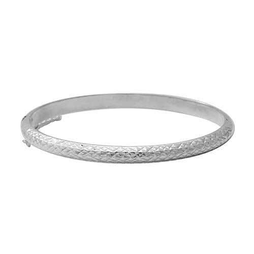 TJC Silver Designer Bangle for Women Shinny 925 Sterling Stamped Perfect Gift for all Occassions Size 7.5 Inches