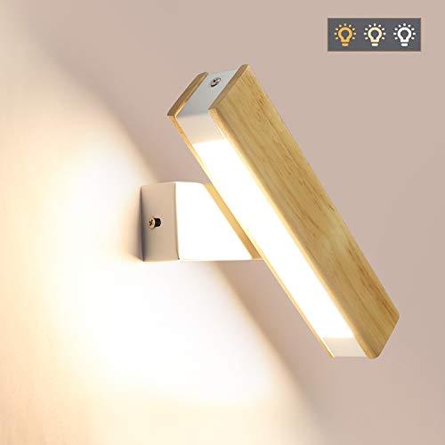 GBLY LED Wandleuchte Holz 350°Schwenkbar Wandlampe 4W Flurlampe Bettlampe, Warmweiß/Neutralweiß/Kaltweiß 3 in 1 umschaltbar, 21CM für Wohnzimmer Schlafzimer Flur Treppenhaus