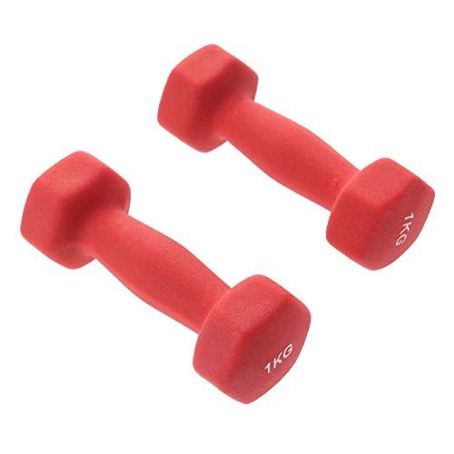 BESPORTBLE 2PCS Dumbbells Barbells Hand Bar for Yoga Exercise Fitness Women Exercise Dumbbells 1kg -Red