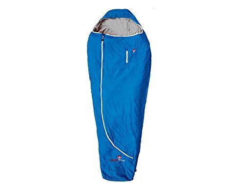 Grüezi-Bag Mumienschlafsack Biopod Plus, Imperial Blue, Wollschlafsack für Erwachsene, 215 x 78 x 50 cm