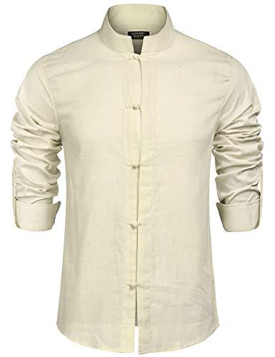 COOFANDY Hemd Herren Langarm Freizeithemd Leinenhemd Slim Fit Stehkragen Einfarbig Leinen Shirt für Männer Hell Khaki L