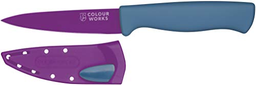 Colourworks Paring Knife with Edgekeeper Knife Sharpener Sheath, Stainless Steel, Plum, 9.5 cm