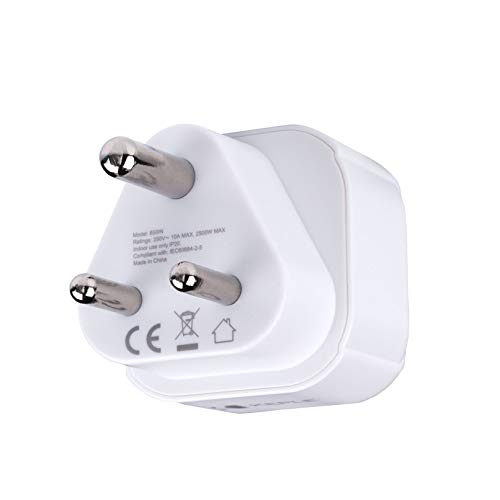 South Africa Südafrika Adapter Plug Reisen Stecker Typ M zu EU Europe European Typ C E F Steckdose für Spain ES France FR Italy Italian IT Germany DE Denmark Dänemark Griechenland Universal 3 Pin