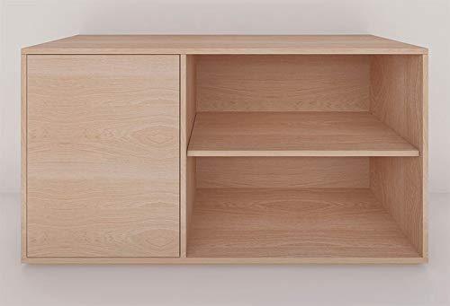 H-Boxx 1.0.1 IZQ. Mueble tipo credenza o trinchador configurable y apilable. Fabricado con chapa de madera sustentable. Diseño minimalista sin tiradores. Con una puerta (izquierda) y un entrepaño largo (derecha). Ideal para organizar y almacenar objetos en sala de estar, recámara, comedor y TV. Se envía totalmente armado y listo para su instalación. Entra en la tienda Mobilco para recibir asesoría en la configuración de tu sistema.