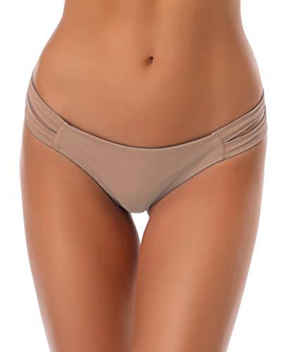 Shekini freche Bikinihose mit Trägern, niedrig geschnitten, brasilianischer Tanga für Damen - Pink - X-Large