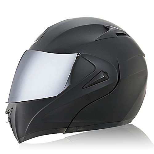 Casco Modular de Moto Flip Up Casco de Moto de Carreras con Doble Visera Mujeres Hombre Cara Abierta Cascos de Moto Casco Integral ECE Homologado Transpirable Y(Size:XS(53-54CM),Color:Lente plateada)