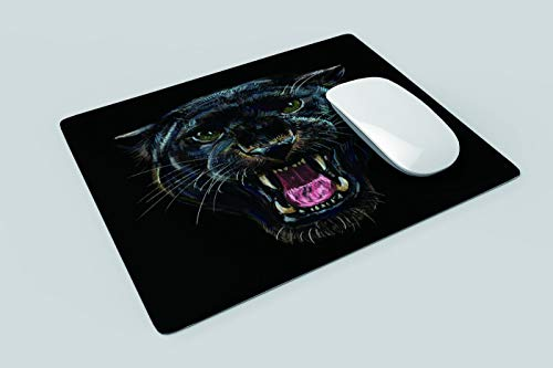 Yeuss Leopard Head Mouse Pad Rectangular Non-Slip Mousepad, Roaring Black Panther On Black Background Digital Painting Gaming Mouse Pads, Black,200mm x 240mm Photo #2