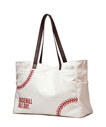 Oversize Baseball-Tasche, Schultertasche, Sport-Druck, Utility Tote Handtasche Canvas Sport Reise Strand für Frauen, Weiá (weiß), X-Large