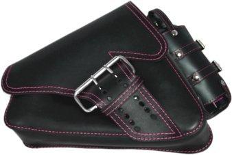 La Rosa Design 04-UP H-D Sportster/Nightster/883 Iron/XL1200 Left Side Saddle Bag/Swingarm Bag with Fuel Bottle Black Leather Pink Thread