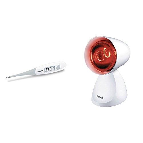 Beurer FT 13 Fieberthermometer mit extra flexibler Messspitze + IL 11 Infrarotlampe, Medizinprodukt zur Anwendung bei Erkältung und Muskelverspannung, 5 Neigungsstufen