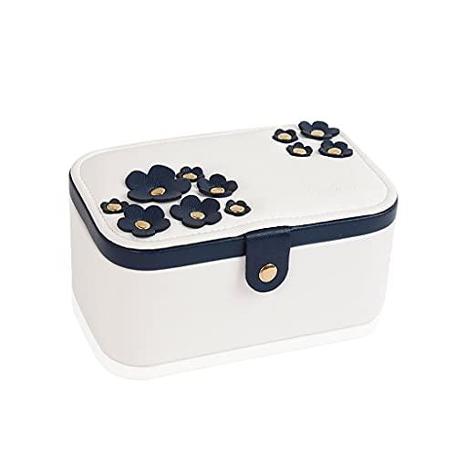 SMFN Caja de joyería de Flor de Cerezo Simple Lychee Pattern Cuero para Las Mujeres Niñas Anillo Collar Pendiente Pulsera Titular Organizador