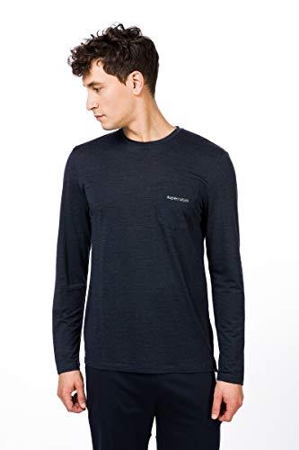 super.natural Movement T-Shirt à Manches Longues pour Homme L Navy Blazer Melange