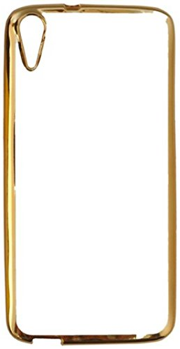 Tech Attires HTC Desire 825 Crystal Clear Transparent and Gold Edge, Ultra Thin, Shock Proof Back Cover for HTC Desire 825