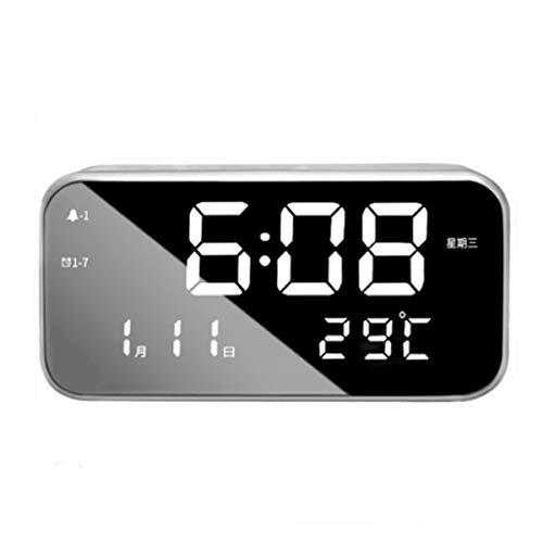 zunruishop Reloj de Escritorio LED Reloj Despertador Digital Regalo USB Portátil Ajustable Silencio Luminoso Reloj Despertador Rectángulo Blanco/Verde Reloj (Color : A)